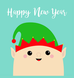 new year santa claus elf face head icon green hat vector image