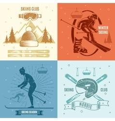 Nordic Skiing Retro Style Emblems vector