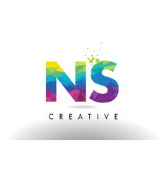 Ns n s colorful letter origami triangles design vector