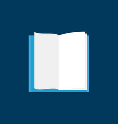 open book with white pages flat icon vector image