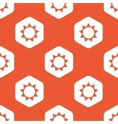 Orange hexagon sun pattern vector image