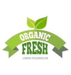 Organic fresh natural eco label vector image