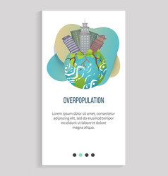 overpopulation planet with skyscrapers and roots vector image