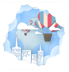Paper art balloon travel above industrail city vector