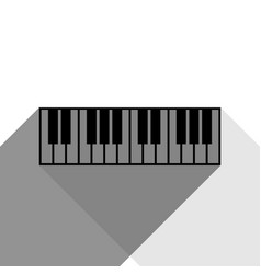 piano keyboard sign black icon with two vector image