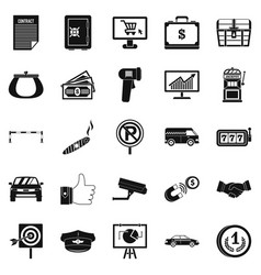 Piece of money icons set simple style vector