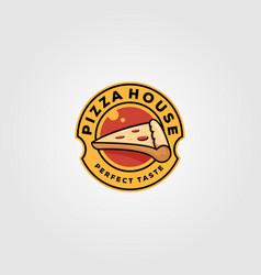 pizza house vintage logo food design vector image