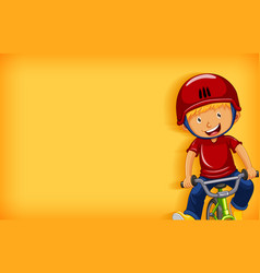 Plain background with happy boy riding bicycle vector