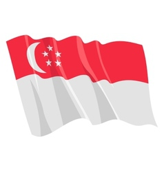 political waving flag of singapore vector image