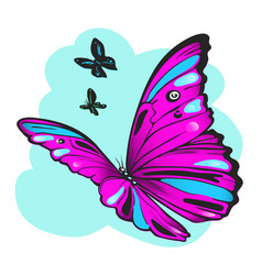 purple butterfly against sky vector image