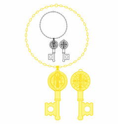 Saint benedict medal key vector
