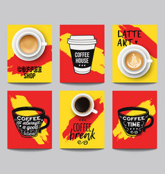 set modern posters with coffee backgrounds vector image