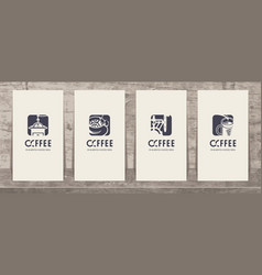 set of business cards on the theme of coffee vector image