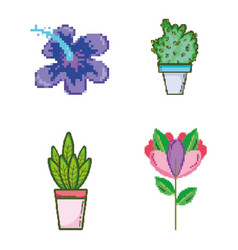 set of garden and nature pixelated icons vector image