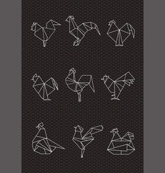 set of polygonal poultry vector image
