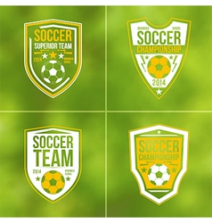 Set of soccer championship flat emblems vector
