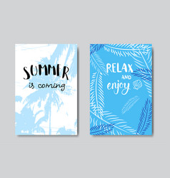 set summer palm badge isolated typographic design vector image