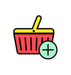 shopping basket flat icon sign symbol vector image