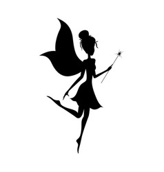 Silhouette of magical fairy with her wand vector