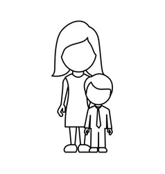 silhouette woman with her son vector image