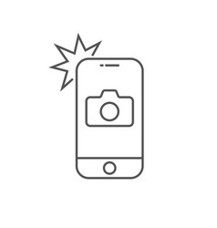 simple icon smartphone with camera and flash vector image