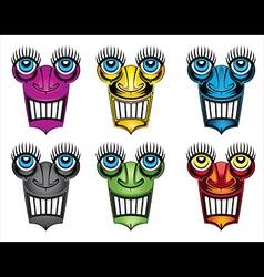 Smiling robot face design vector