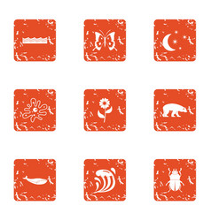 stock breeding icons set grunge style vector image