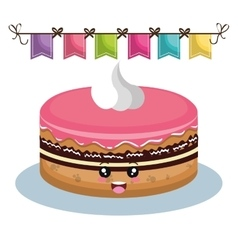Sweet birthday cake card vector