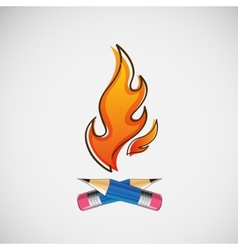 The fire which burn pencils design vector image