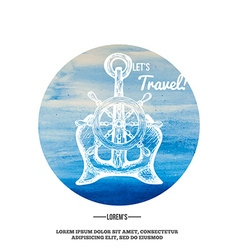 Travel Background Anchor on Watercolor mark vector image