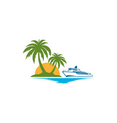 Tropical palm on island with sea and sailboat vector