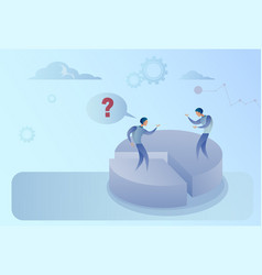 two business men on pie diagram getting inequality vector image