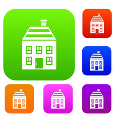 Two-storey house with chimney set collection vector