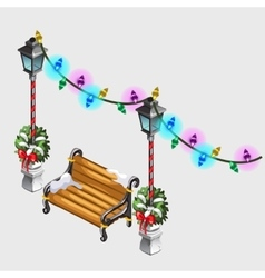 Two street lamp bench and colorful garland vector image