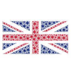 uk flag mosaic of snowflake items vector image