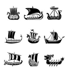 Viking ship boat drakkar icons set simple style vector