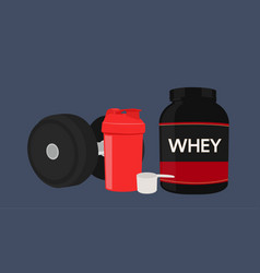 Whey protein bottle a scoop a shaker dumbbell vector