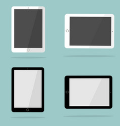 White and black tablet in style ipad vector
