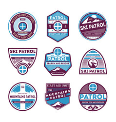 Winter mountains patrol isolated label set vector