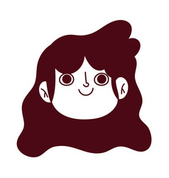 young girl female cartoon face isolated icon vector image