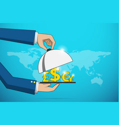 business hands open cloche to serve currency icons vector image vector image