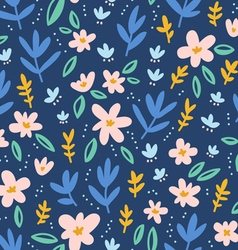 Colorful flowers on deep blue background seamless vector image vector image