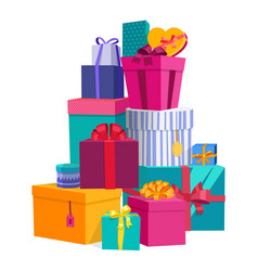 colorful wrapped gift boxes beautiful present box vector image vector image