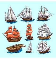 Ships and boats sketch set vector image
