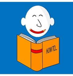 A happy book cartoon character vector image