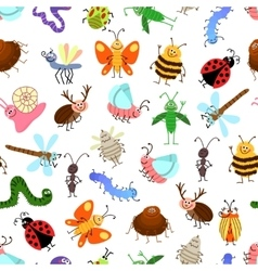 Fly and creeping cute cartoon insects vector image