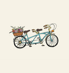 hand drawn tandem city bicycle with basket of vector image vector image