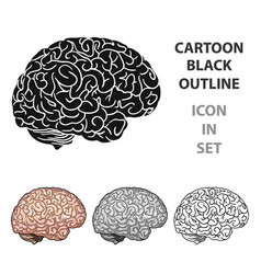 human brain icon in cartoon style isolated on vector image
