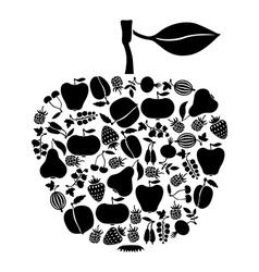 apple on fruits black vector image