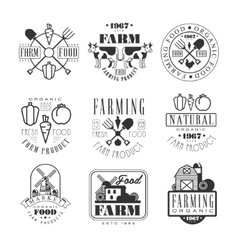 Organic Farm Products Black And White Sign Design vector image vector image